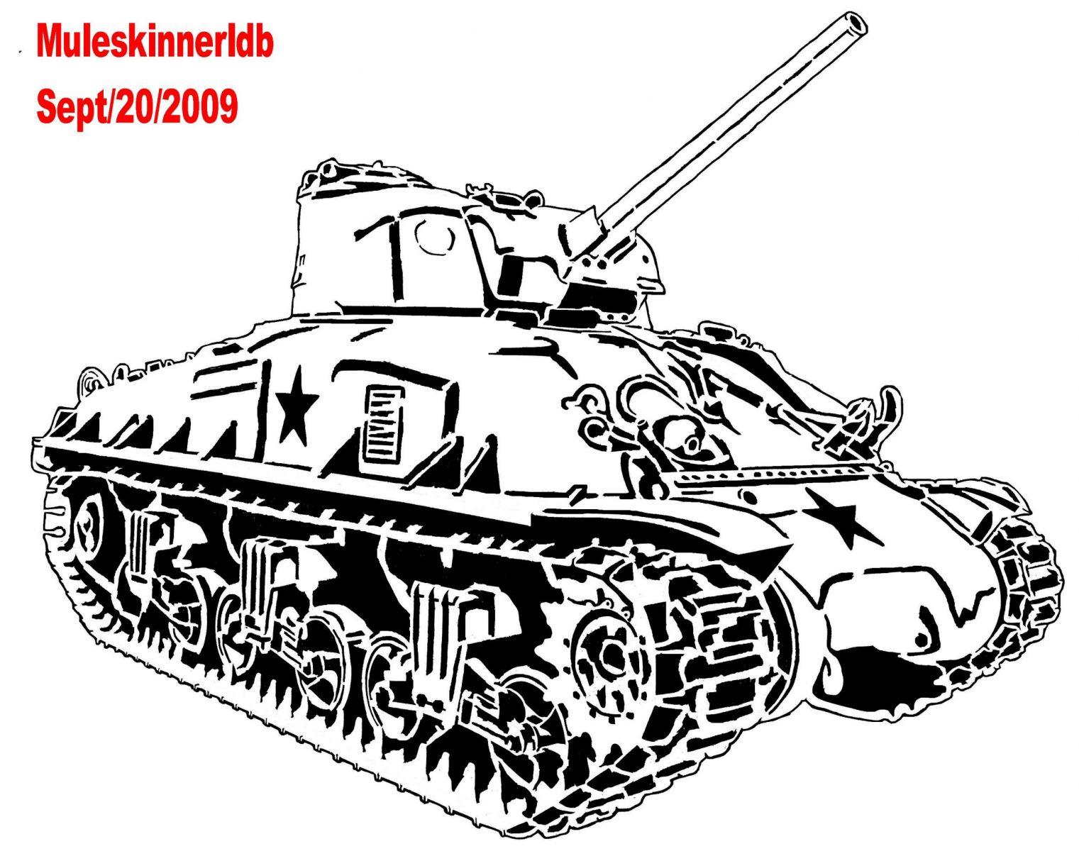 Free Sherman Tank Coloring Pages